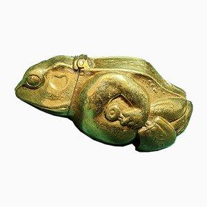 Antike Streichholzschachtel aus Messing mit Glasaugen
