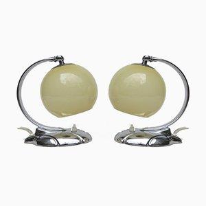 Art Deco Amorphous Form Chrome Bedside Lamps, Set of 2