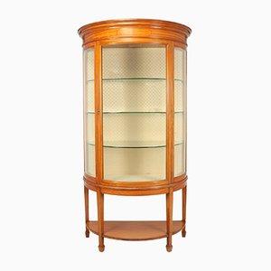 Antique Satinwood Demilune Display Cabinet, 1900s