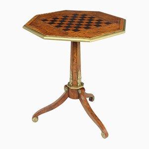 Antique English Walnut, Satinwood and Ebony Chess Table, 1800s