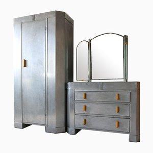 Raf Aviation Aluminium Bedroom Furniture from Hawks, 1946, Set of 2
