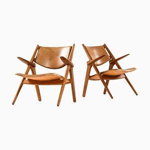Model Ch-28 Easy Chairs by Hans Wegner for Carl Hansen & Son, Denmark, Set of 2