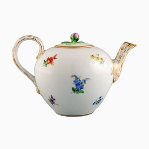 Antique Teapot in Hand-Painted Porcelain with Flowers from Meissen, Late 19th-Century