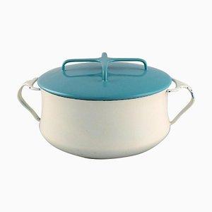 Pot avec Couvercle en Turquoise et Email Couleur Crème par Jens H. Quistgaard