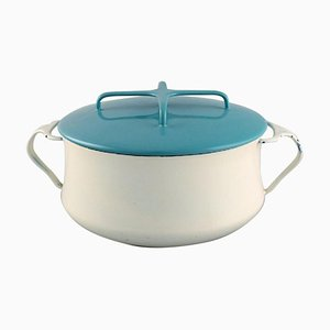 Pot with Lid in Turquoise and Cream Colored Enamel by Jens H. Quistgaard