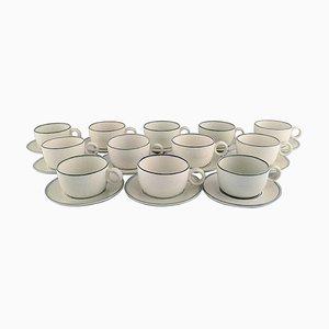 Birka Teacups with Saucers by Berndt Friberg for Gustavsberg, Set of 12