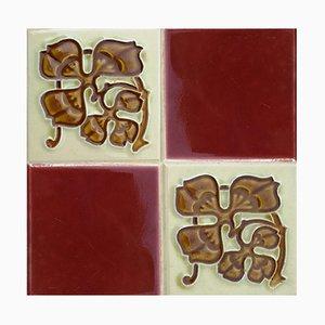 Antique Ceramic Relief Tile from Gilliot Frères, Hemiksem
