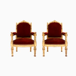 Antique Italian Red Velvet Thrones, Set of 2