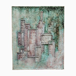 Abstract Ceramic Relief in Green Tones, 1970s