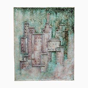 Abstraktes Relief aus Keramik in Grüntönen, 1970er