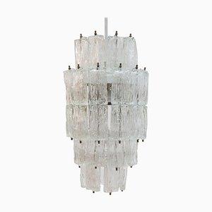Großer Verchromter Murano Glas Kronleuchter mit Fünf Ebenen von Toni Zuccheri für Venini, 1960er