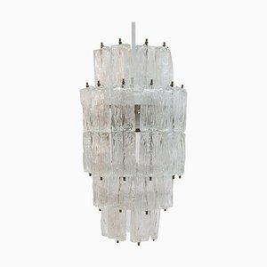 Large Iced Textured and Clear Murano Glass Chandelier with Five Tiers by Toni Zuccheri for Venini, 1960s, Italy