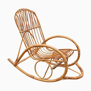 Bamboo Rocking Chair, Italy, 1950s