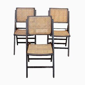Folding Chairs with Raffia, 1950s, Set of 3