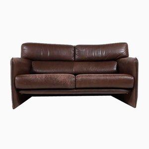 Dutch Brutalist 2-Seater Leather Sofa, 1970s