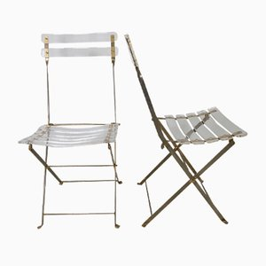 Vintage Lucite and Metal Folding Chairs, Set of 2