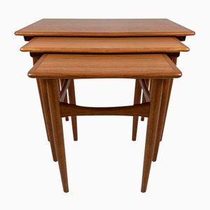 Teak Nest of Tables by Poul Hundevad, Set of 3