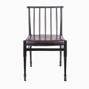 Vintage Chair in Dark Stained Wood and Burgundy Leatherette, 1960s