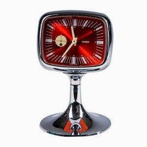 Red Chrome Alarm Clock from Kaiser, 1970s