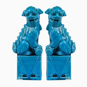 Blau Glasierte Löwen aus Keramik, 1990er, 2er Set