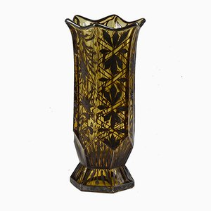 Art Deco Vase in Amber Glass with Silver Decorations