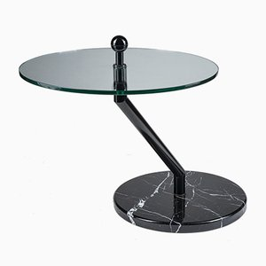 Vintage Coffee Table with Glass Top and Black Marble Base, 1980s