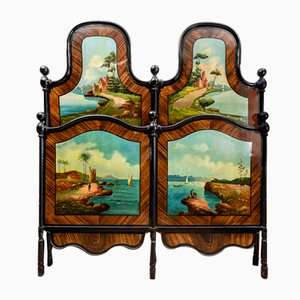 Double Bed with Iron and Steel Hand-Painted Head and Footboard, Italy