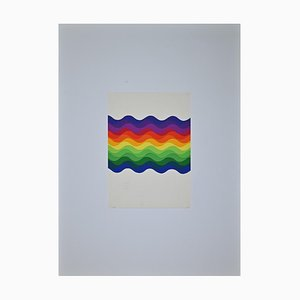 Julio Le Parc, Composition, Colored Waves, Screen Print, 1976