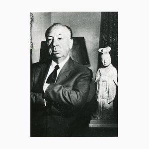 Inconnu, Portrait d'Alfred Hitchcock, Photographie Vintage N & B, 1960s