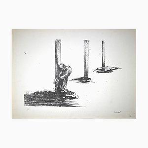 Pietro Morando, Prisoners in Hungary, Lithograph, 1950s