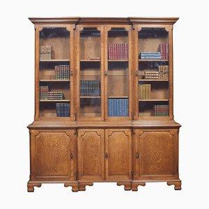 Großes Eichenholz Bücherregal mit Vier Türen