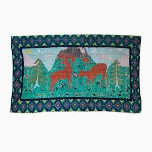 Romanian Vintage Large Rug with Deers