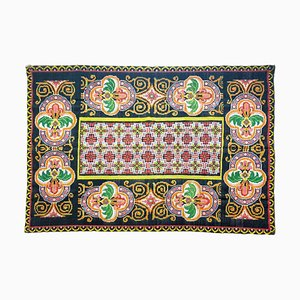 Brown Wool Rug with Geometric Design