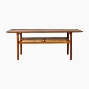 Table Basse en Teck et Rotin par Hans J. Wegner pour Andreas Tuck