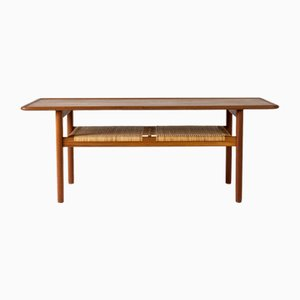 Teak and Rattan Coffee Table by Hans J. Wegner for Andreas Tuck