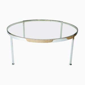 Large Chrome and Glass Round Low Table, Italy, 1970s