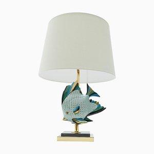Large Ceramic Fish Table Lamp, France, 1970s