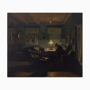Fritz Kraul, Interior Scene with Older Woman Writing, Öl auf Leinwand