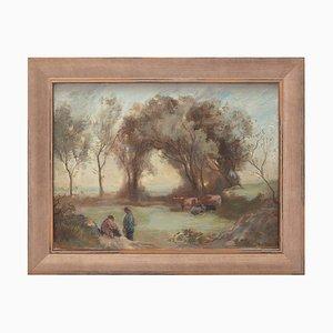 Cor De Boer, Dutch Pastoral Scene with Figures, Peinture à L'Huile