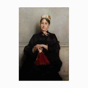 Portrait d'une Dame Fin 19ème Siècle avec Ventilateur