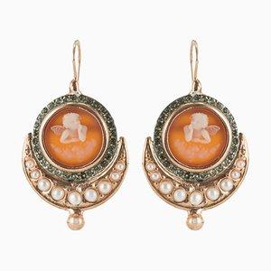 Orecchini Vermeil con perle a forma di angelo, Italia, set di 2