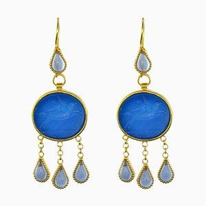 Pendientes colgantes italianos en azul cristalina con incrustaciones. Juego de 2