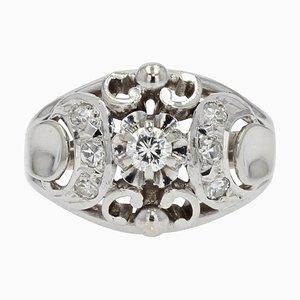 Bague Dôme en Or Blanc 18 carats et Diamant Art Déco, France, 1930s