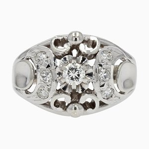 French Art Deco Diamonds and 18 Karat White Gold Dome Ring, 1930s