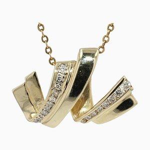 Ringförmige Hängelampe aus 18 Karat Vergoldetem Gelbgold mit Diamanten