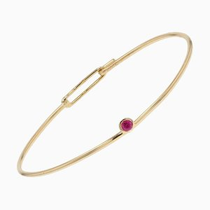 Ruby and 18 Karat Yellow Gold Thin Bangle Bracelet