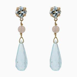 Aquamarine Opal and 18 Karat Yellow Gold Earrings, Set of 2