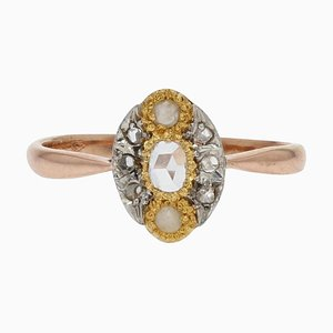 19th Century Pearl, Diamonds and 18 Karat Rose Gold Marquise Ring