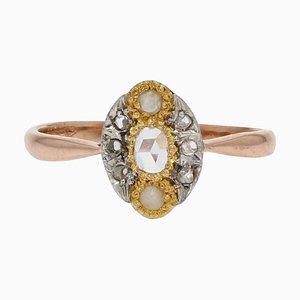 Rosafarbener Marquise Ring aus Perle, Diamanten und 18 Karat