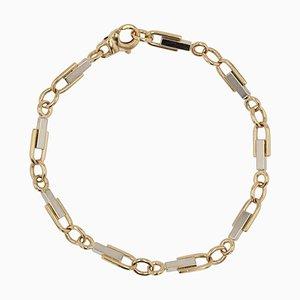 French Stirrup Mesh 18 Karat Yellow White Gold Bracelet